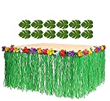 Adorox 12 Tropical leaves included 1 Hawaiian Luau Hibiscus Green Table Skirt (9 ft)