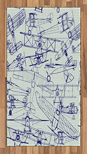 - Ambesonne Airplane Area Rug, Old Airplane Drawings Classic Dated Flight Vintage Style Nostalgic Jets, Flat Woven Accent Rug for Living Room Bedroom Dining Room, 2.6' x 5', Violet Blue Turquoise