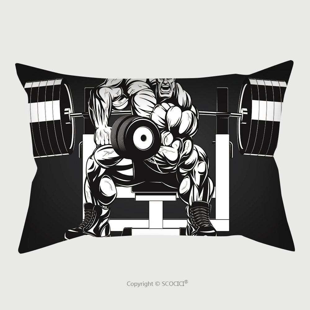 Custom Satin Pillowcase Protector Vector Illustration Bodybuilder Doing Exercise With Dumbbells For Biceps 270396971 Pillow Case Covers Decorative by chaoran