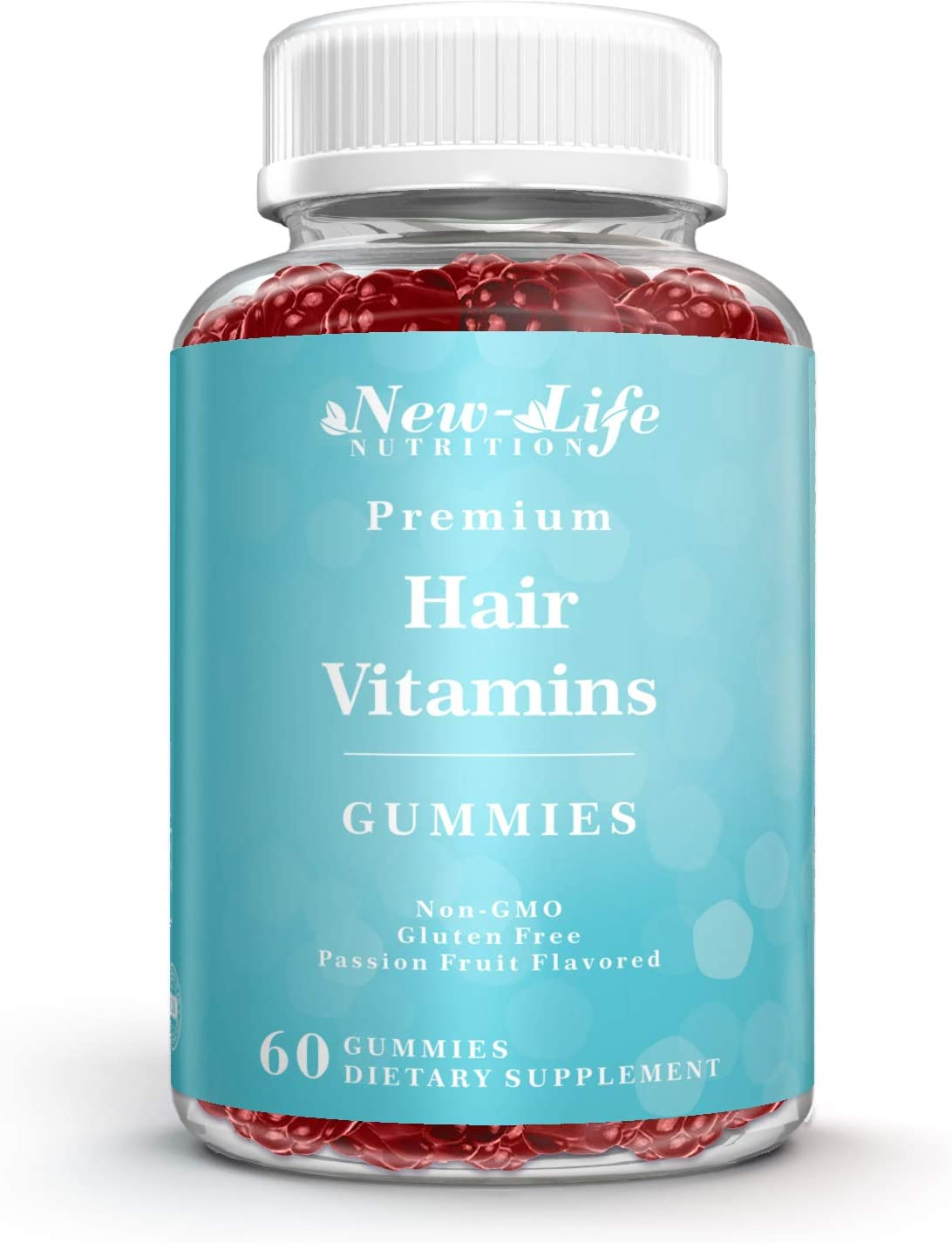 Premium Hair Vitamin Gummies from New-Life Nutrition. High Potency Biotin, Collagen and Other Nutrients for Hair, Skin and Nails.