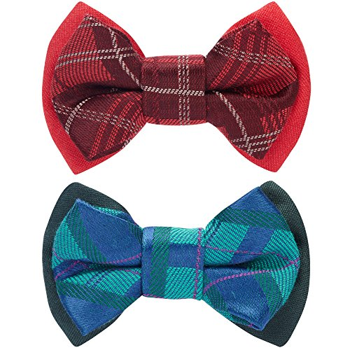 Blueberry Pet Spring Gift Box with Pack of 2 Handmade Dog Cat Bow Tie, Scottish Plaid Tartan Style Bowtie Set in Scarlet Red & Emerald Green, 3