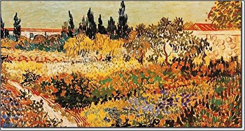 quadri & cornici hb Vincent Van Gogh Il Giardino Fiorito quadro,stampa su legno, poster su legno, bordo nero