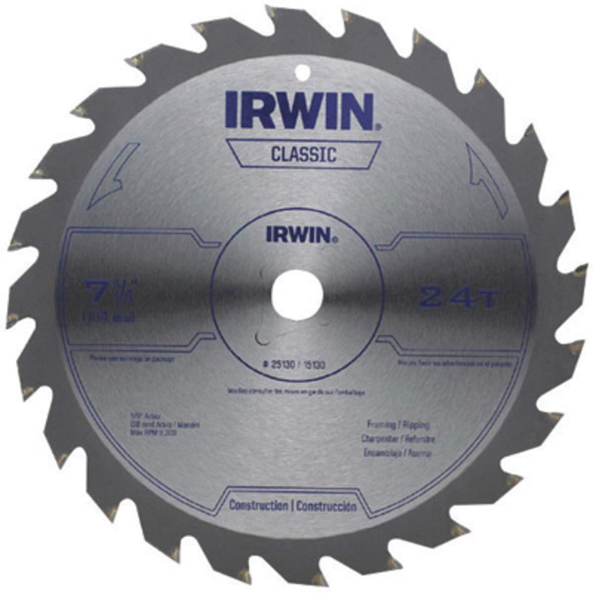 IRWIN 7 1/4'' X 5/8'' X .055'' 8300 RPM 24 Teeth ATB Grind Vise-Grip Sprint Series Classic Carbide Tipped Universal Circular Saw Blade (For Wood Cutting) (Bulk Package)