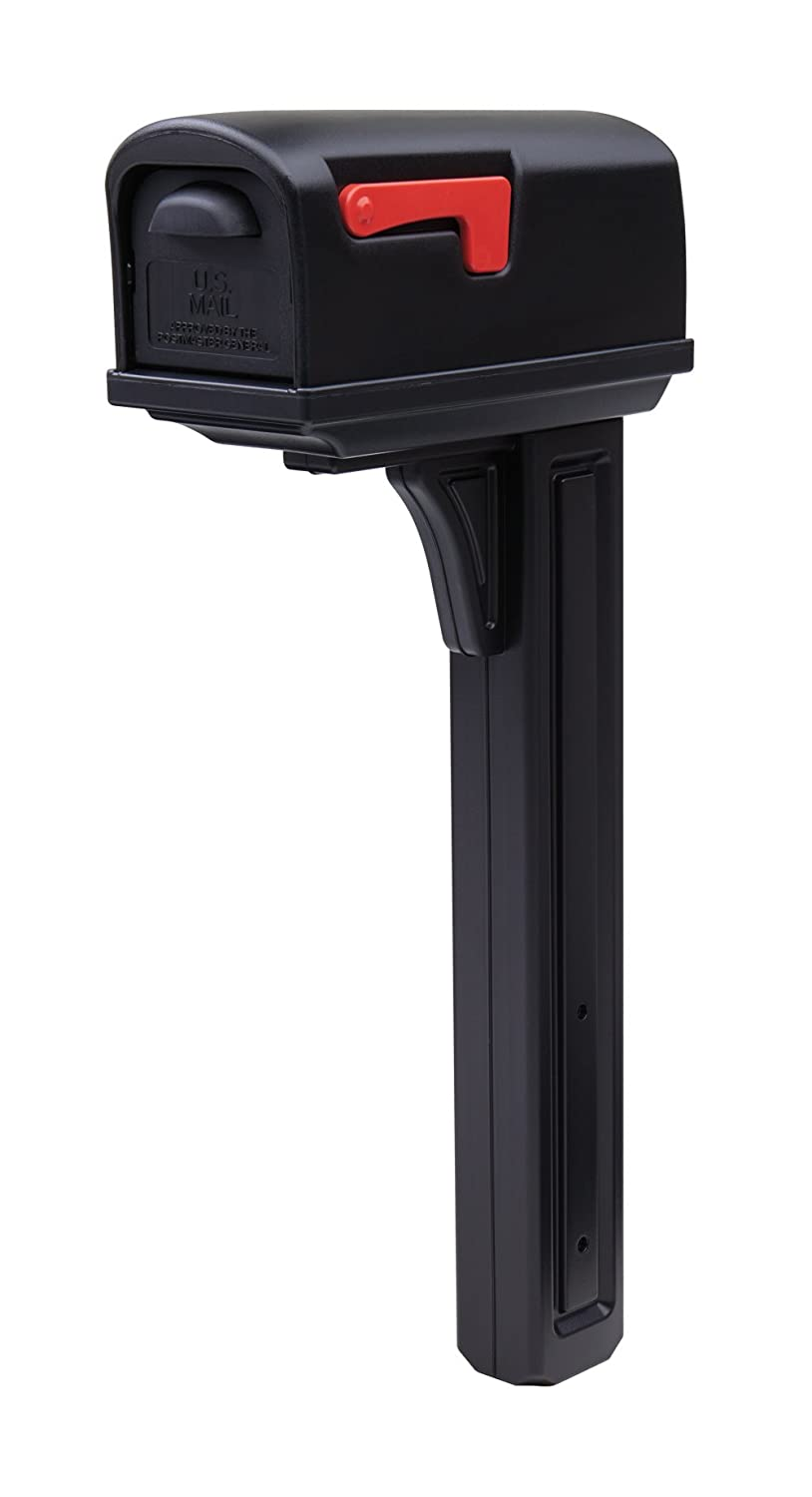 Gibraltar Mailboxes Classic Medium Capacity Double-Walled Plastic Mocha, All-In-One Mailbox & Post Combo Kit, GCL10000M Solar Group HH-20412953