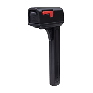 Gibraltar Mailboxes Classic Medium Capacity Double-Walled Plastic Black, All-In-One Mailbox & Post Combo Kit, GCL10000B