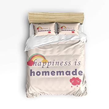 Bedding Duvet Cover Set King, 3 Pieces Happiness is Homemade Ultra Soft Microfiber Down Comforter