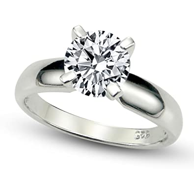 Amazoncom Sterling Silver Cubic Zirconia Solitaire 125 Carat tw