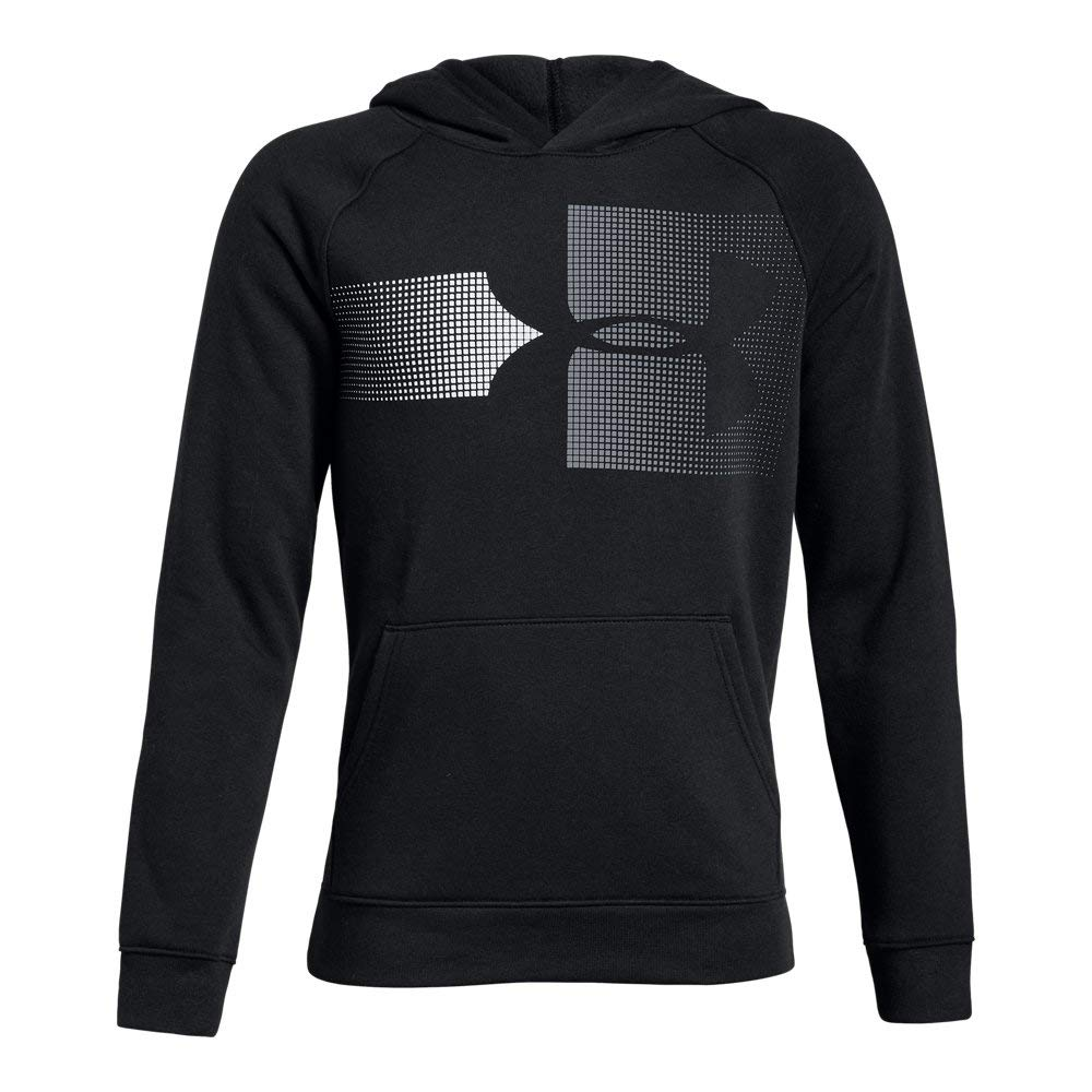 Under Armour Boys Rival Logo Hoodie, Black (001)/Steel, Youth Medium by Under Armour