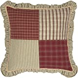 VHC Brands 34626 Classic Country Farmhouse Pillows & Throws-Prairie Winds Red Patchwork 18'' x 18''