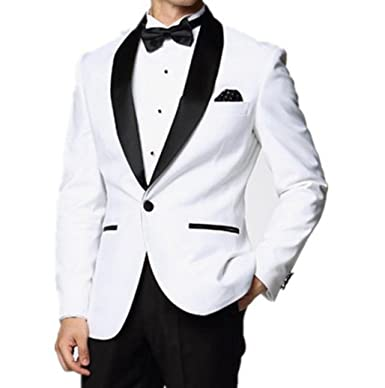 Anylinksuit Modest White Shawl Collar Groom Tuxedos Men Prom Blazer Party  Suits