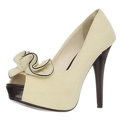 a426bb6a8 Summitfashions Womens Cream Pumps Ruffle Peep Toe Shoes 5 Inch Heels Classy  Dress Heels Size: