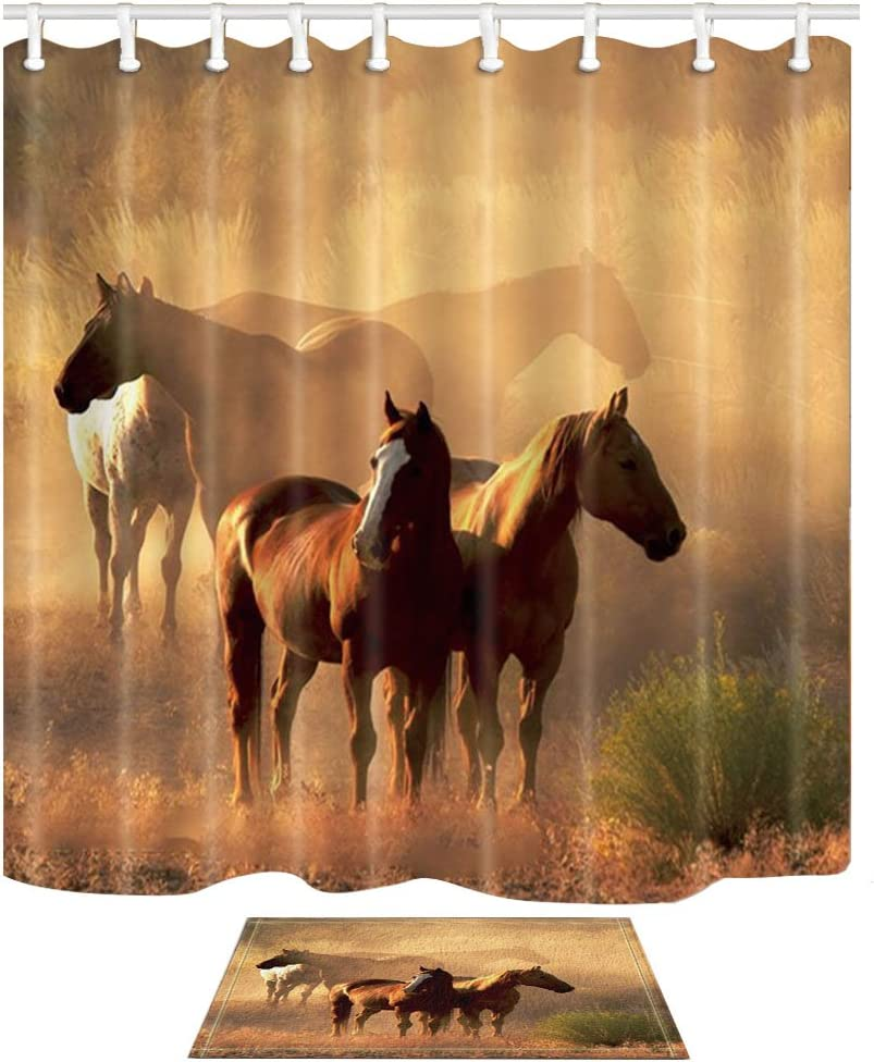 NYMB Wild Safari Animal Decor, Western Farm Animals Horses Stand on The Prairie 69X70in Polyester Fabric American Country Shower Curtain Suit with 15.7x23.6in Flannel Non-Slip Floor Doormat Bath Rugs