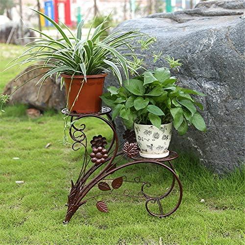 木製 フラワースタンド 2段になった屋内屋外の植物の花の工場メタルプラントポットラッククラシックフラワースタンドスタンド フラワースタンド・園芸ラック (色 : Bronze, Size : 43x20x40cm)