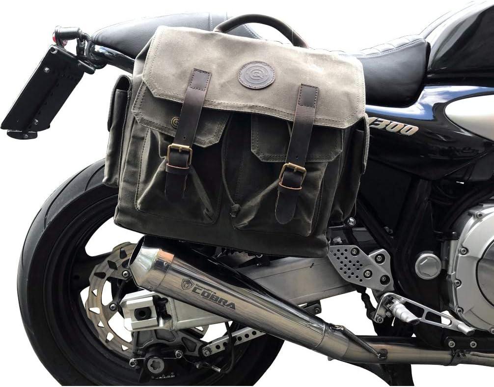 Qbag Motorrad Satteltaschen Für Motorrad Taschen Satteltasche Canvas Retro 15 Liter Neu Unisex Multipurpose Ganzjährig Baumwolle Oliv Auto