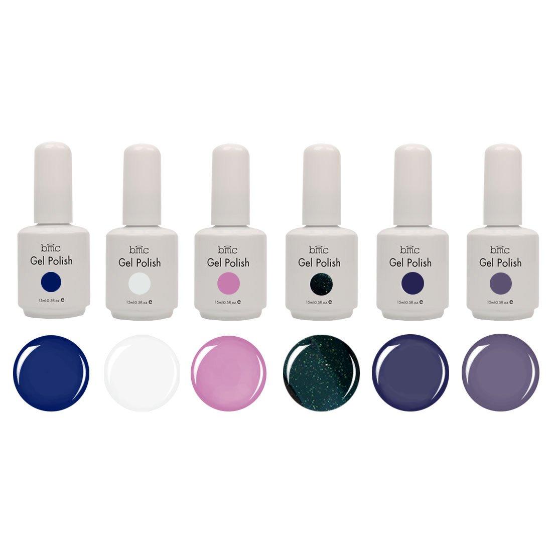 Amazon.com : BMC 6pc Color Gel Nail Art Polish UV LED Light Manicure ...