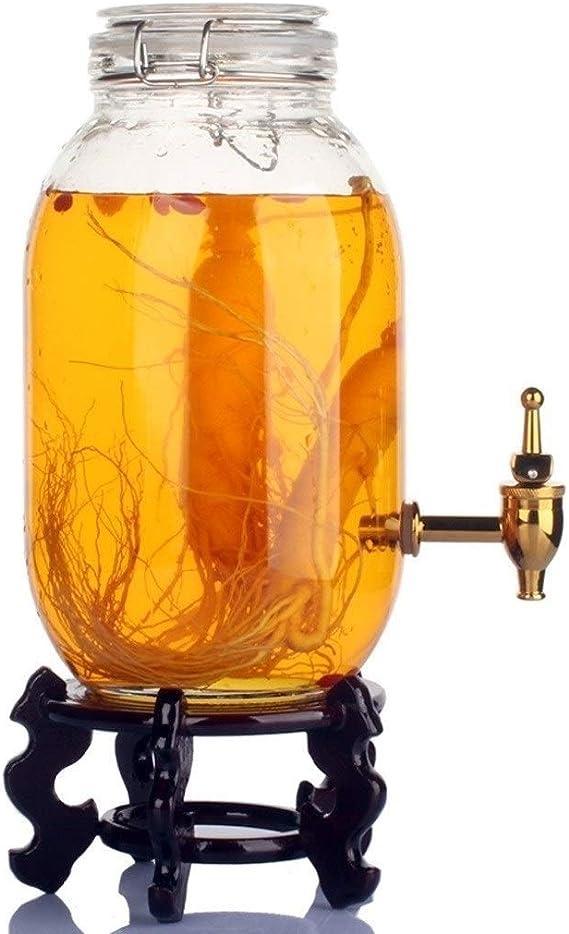 MYXMY Dispensador de bebidas - Botella de vino de vidrio sin plomo para uso doméstico con botella de vino de ginseng líder. Tarro de vino con latas de enzimas selladas, botella de