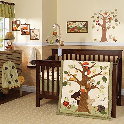 Echo Sheets - Lambs & Ivy Echo 9-Piece Crib Bedding Set - Woodland/Forest Raccoon,Fox, Animals