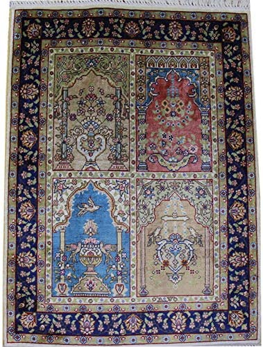 Yilong Carpet Small Silk Handwoven Rug Pad Hand Knotted Silk Carpet Oriental Area Rug