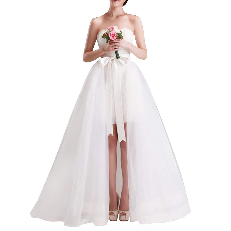 YULUOSHA Women Wedding Maxi Tulle Skirts Detachable Train Overskirt Overlay Long Bridal