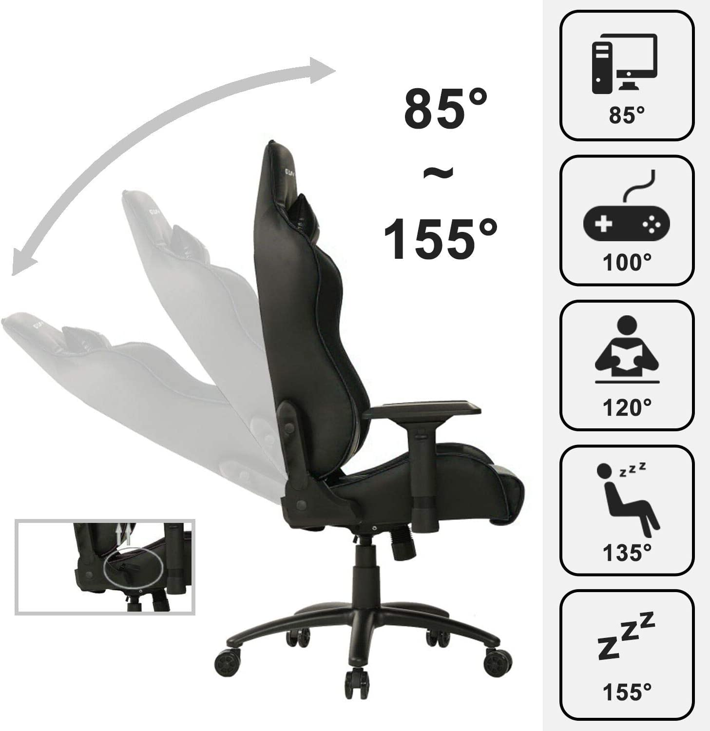 Ewin Gaming Office Chair 4D Armrests High Back PU Leather
