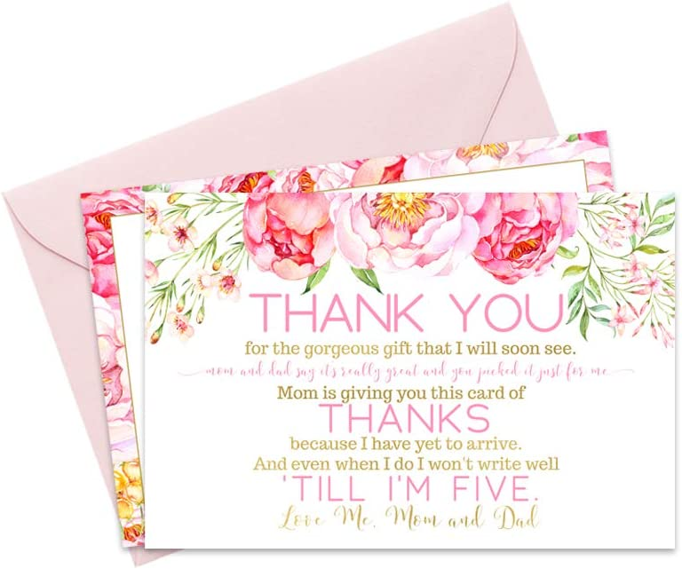 Floral Baby Shower Thank You Cards and Pink Envelopes 15 Pack