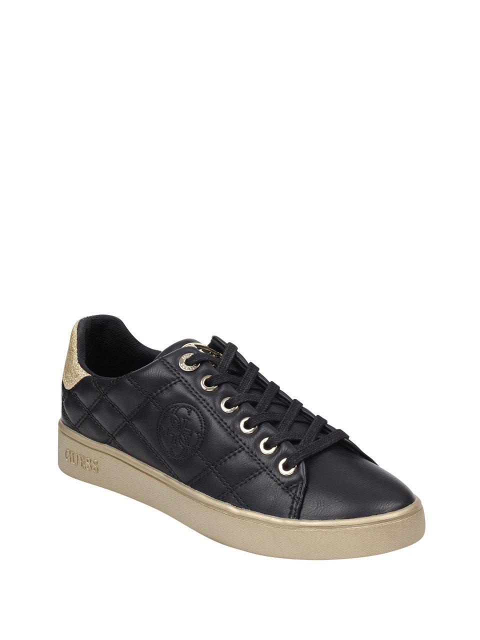 GUESS Women's Brayz Quilted Glitter Sneakers B07DV7158X 8 B(M) US|Black Multi Texture