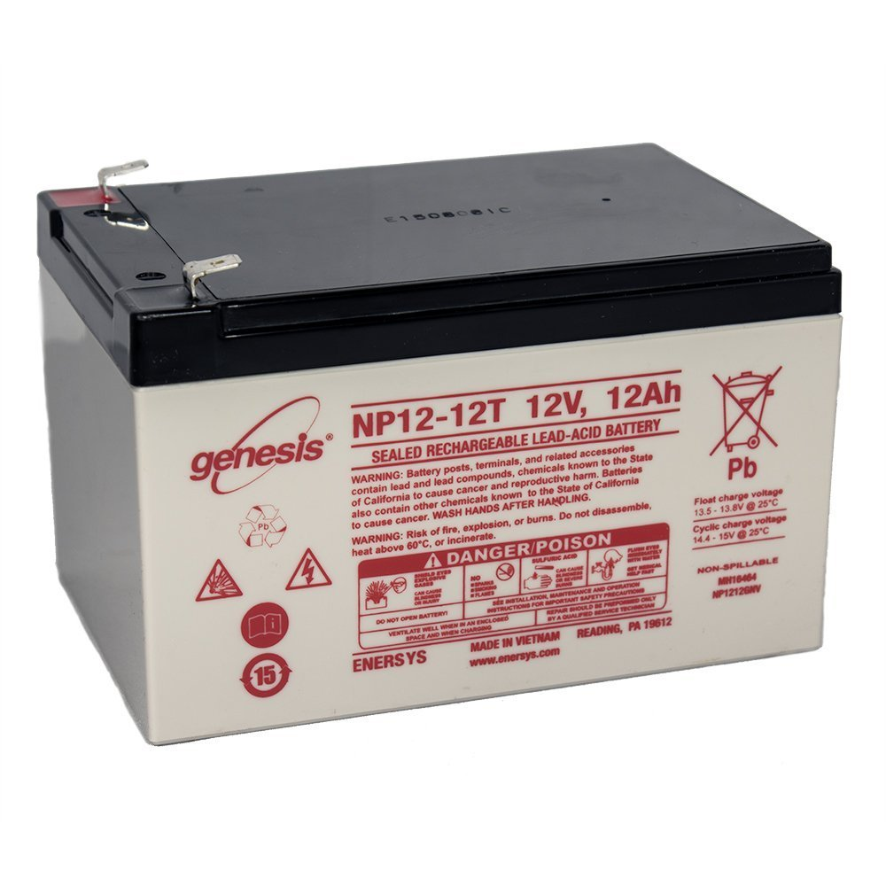 EnerSys Genesis NP12-12T - 12 Volt/12 Amp Hour Sealed Lead Acid Battery with 0.250 Fast-on Connector