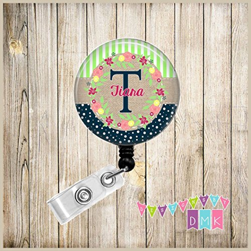 Monogram - Personalized - Lime Green Stripes & Navy Polka Dots - Floral Wreath - Button Badge Reel