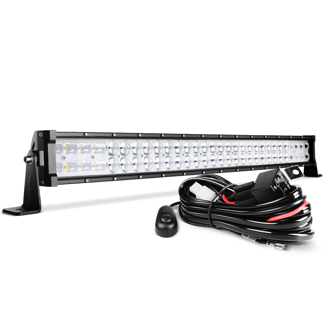 2 Year Warranty 32 LED Light Bar DWVO 390W Straight 48000LM Upgrated Chipset with 8ft Wiring Harness for Offroad Driving Fog Lamp Marine Boating IP68 WATERPROOF Spot /& Flood Combo Beam Light Bars