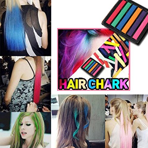Hair Chalk Color Disposable Instant Hair 6 Color Pens Temporary Cream (6colors)