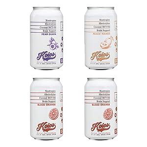 KOIOS - 3 Flavor Variety Pack, Nootropic Beverage, Enhance Brain Function, Improve Memory & Productivity, Lion's Mane Mushroom, MCT Oil, Vegan (2 Blood Orange, 1 Pear Guava, 1 Peach Mango, 4-Pack)