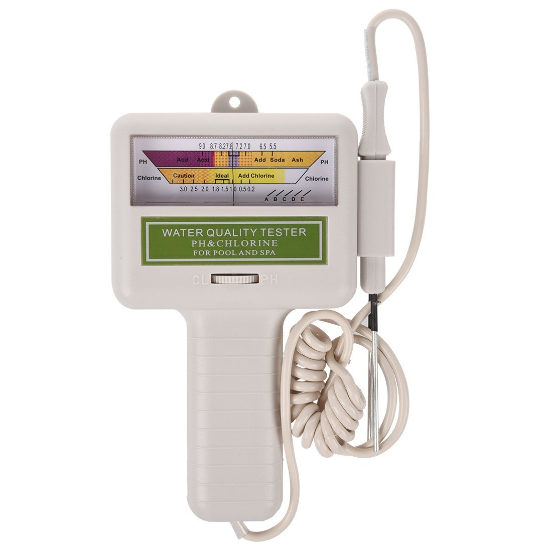 R Wasserqualitaet PH TOOGOO CL2 Chlor Level Meter Tester fuer Pool Weiss Spa