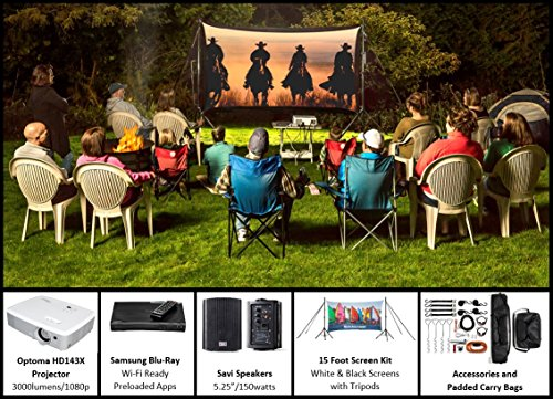 Recreation Series Complete Theater Kit! 15' Front and Rear Projection Screen with HD Optoma 1080p Projector, Sound System & Blu-Ray Player w/WiFi (EZ-800)