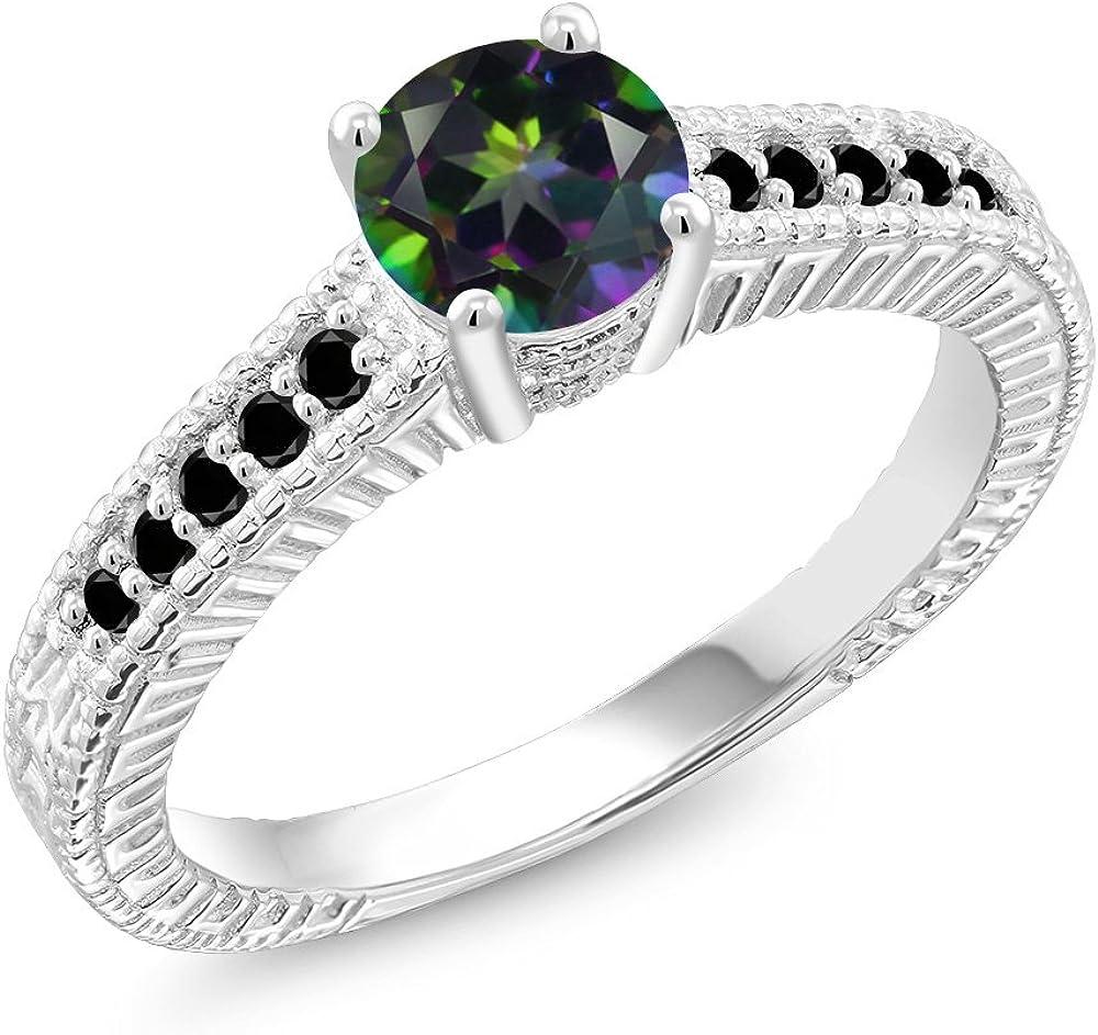 Gem Stone King 1.17 Ct Round Green Mystic Topaz Black Diamond 925 Sterling Silver Engagement Ring