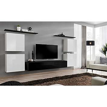 a653474a7aa JUSTyou SWOTCH IV Muebles de salón Comedor Modulo de Pared Tamaño   150x320x40 cm Blanco Negro Mat Blanco Negro Brillante  Amazon.es  Hogar