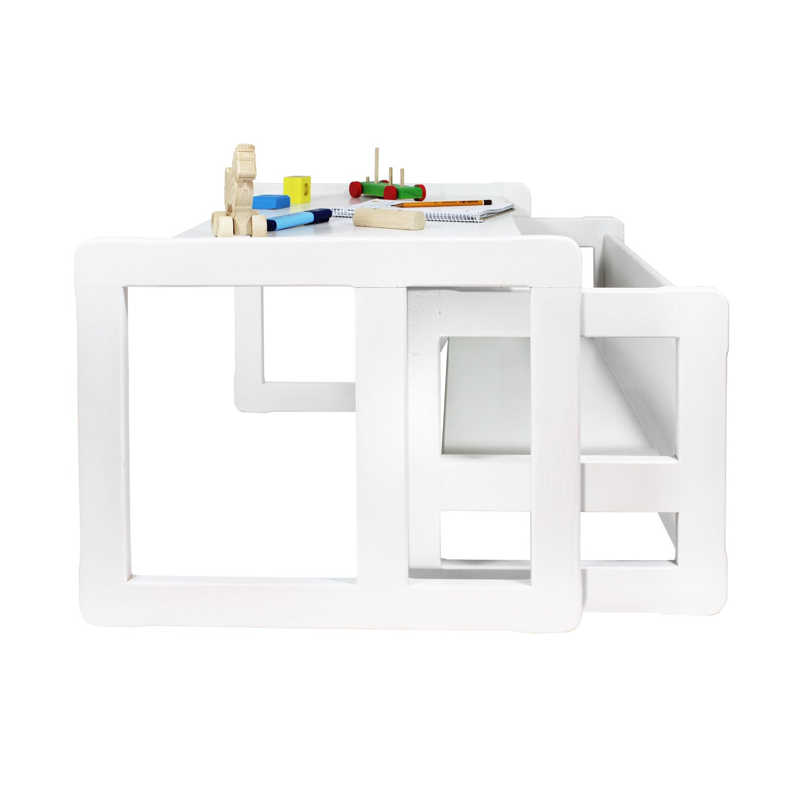 3 in 1 Childrens Multifunctional Furniture Set of 2, One Small Bench or Table and One Large Bench or Table Beech Wood, White Stained by Obique Ltd (Image #5)