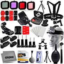 61-in-1 Biker Set with Body Chest Strap, Head Strap, Flexible Tripod, Hand, Wrist, Filters, Handlebar Seatpost Mount, Case, Selfie Stick, Cleaning Accessories Kit Bundle For GoPro Hero 3 3+ 4 Plus