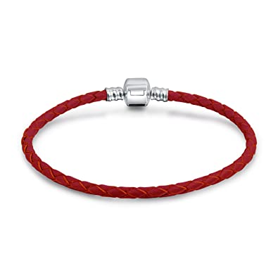 0c60e8122 Amazon.com: Red Weave Braided Genuine Leather Starter Charm Fits European  Beads Bracelet For Women 925 Sterling Silver Barrel Clasp: Jewelry