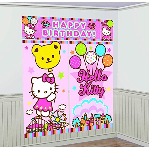5-Piece Hello Kitty Balloon Dreams Scene Setter Set, Multicolored ()