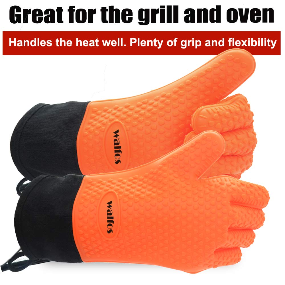 Walfos BBQ Smoker Gloves, High Heat Resistant Silicone Grilling Glove, Long Waterproof Non-Slip Potholder for Cooking, Baking Barbecue