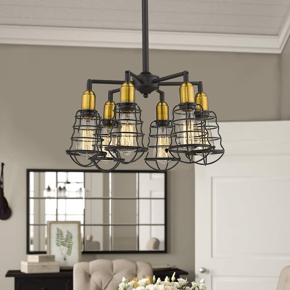 Pleasing Jazava Industrial Kitchen Island Lighting 6 Light Modern Industrial Chandelier Metal Cage Shade Pendant Light Fixture For Farmhouse Brass And Matte Download Free Architecture Designs Scobabritishbridgeorg