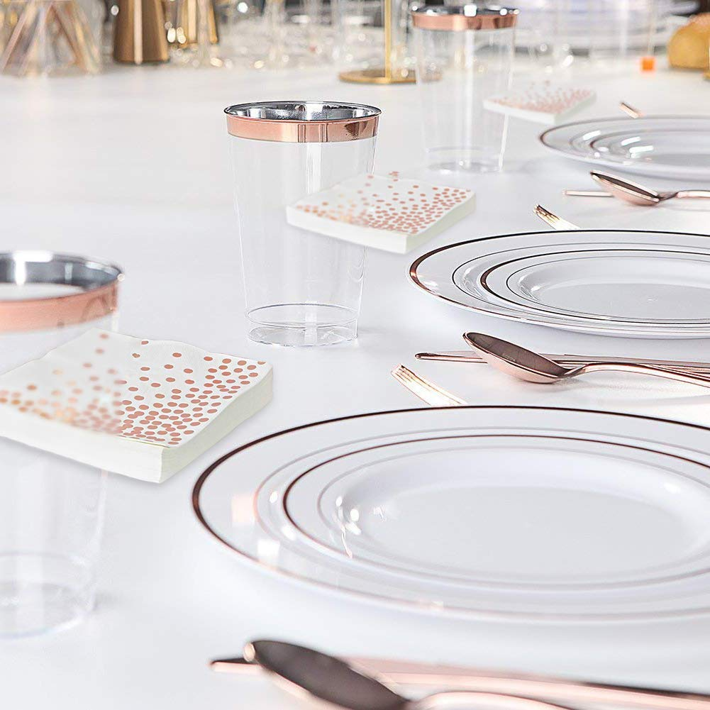 H3 Innovations-200pc Rose Gold Plastic Plates, Rose Gold Silverware, Rose Gold Plates, Rose Gold Cups, Rose Gold Napkins, Rose Gold Straws, Rose Gold Disposable Dinnerware by H3 Innovations (Image #4)