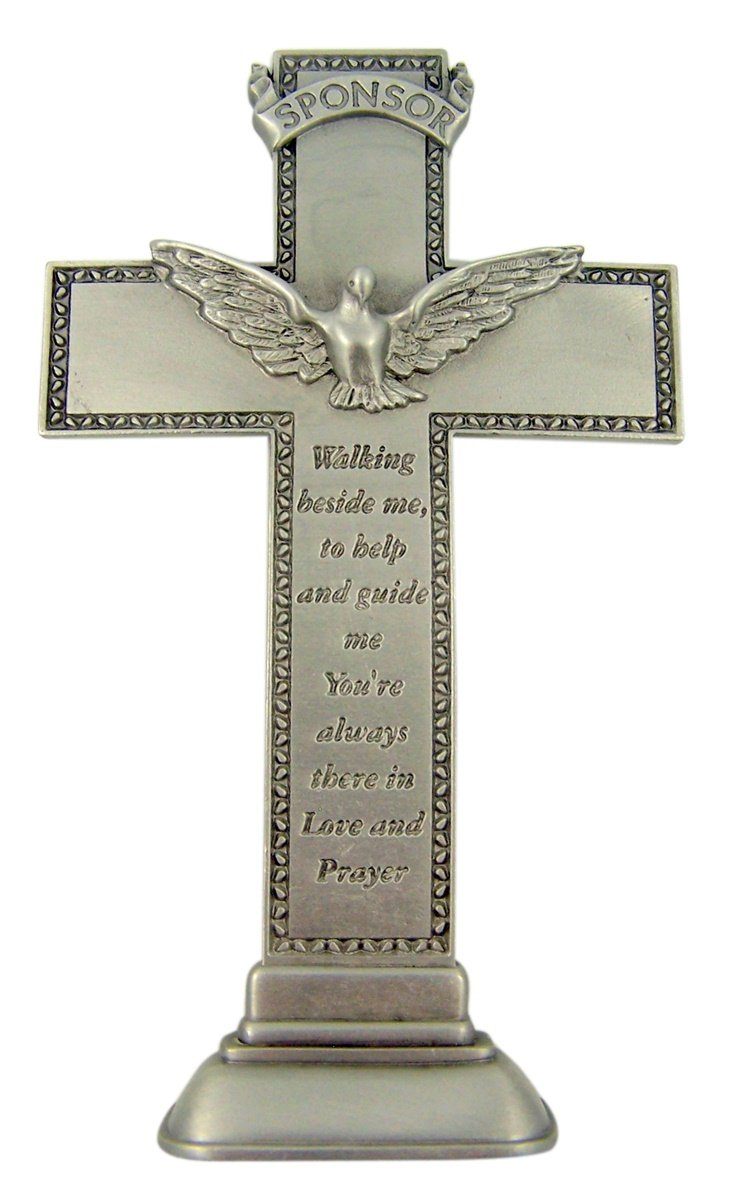 Confirmation Cross Pewter Standing with Holy Spirit Dove for Sponsor, 5 1 2 Inch