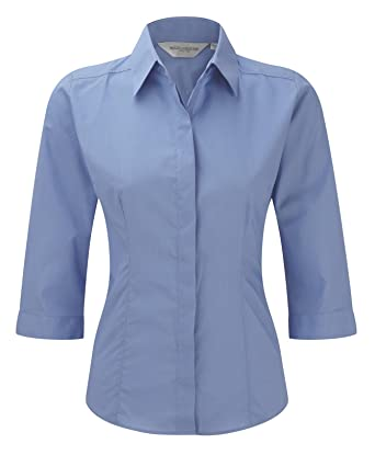 eb20096df Russell Collection Women's Fitted Poplin 3/4 Sleeve Shirt: Amazon.co.uk:  Clothing