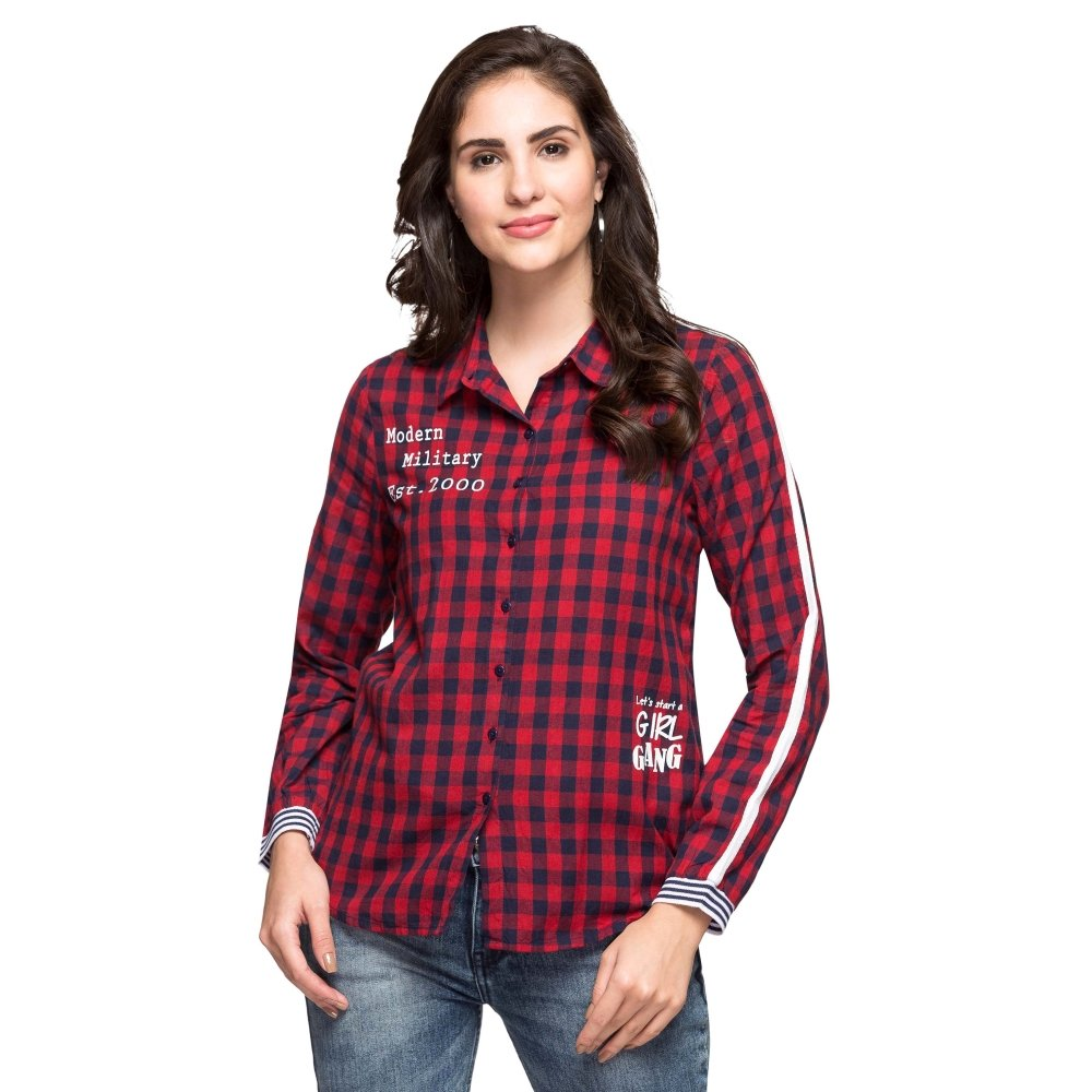 fe9a5f31bc06b Life by Shoppers Stop Womens Collared Check Shirt Red 42  Amazon.in   Clothing   Accessories