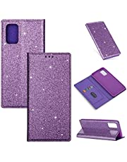 Jorisa Glitter Wallet Case Compatible with Samsung Galaxy S20 Ultra 6.9 inch,Bling Sparkle Ultra Thin Leather Flip Stand Cover with Card Slot Magnetic Closure Book Style Phone Case,Purple