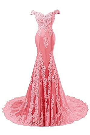 Ladsen Womens Mermaid Lace Beaded Evening Party Gowns Sequined Appliques Formal Prom Dresses Long L147 Watermelon