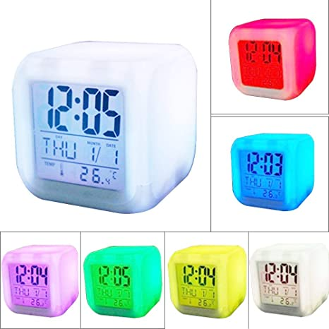 Denshine Reloj Despertador Digital LED con Fecha y Temperatura de Visualización de 7 Colores, Color