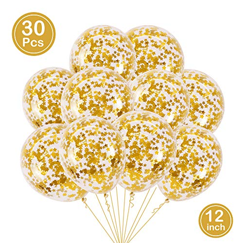 BALONAR 30pcs Gold Star Pre-Filled Confetti Balloons Party Latex Balloons with Gold Star Confetti for Birthday Party Wedding Supplies Decorations (Gold Star) -