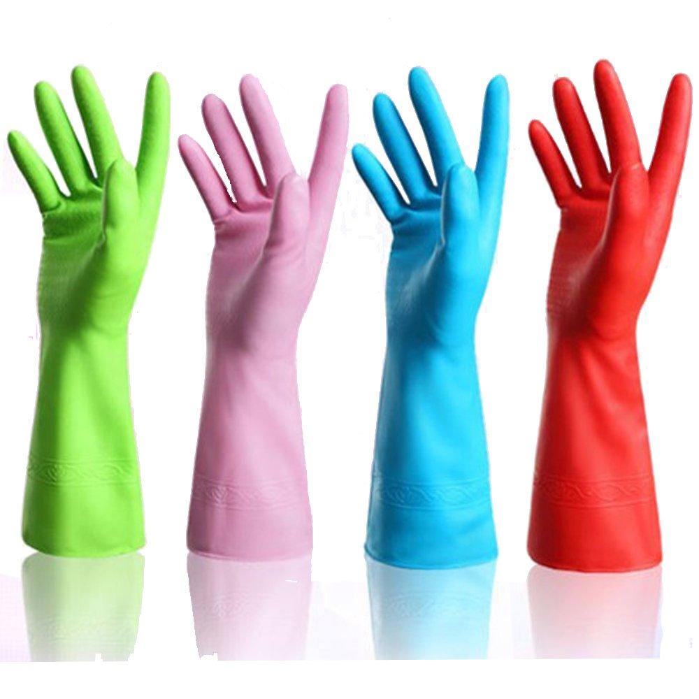 2Paar/2Farben wiederverwendbare Haushalts Reinigung Handschuhe Waschen Handschuhe Rutschfest Wäschekorb Geschirrspülen Wasserdichte Handschuhe